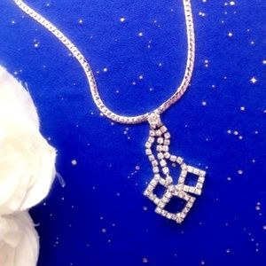 Free!!  Silver Rhinestone Necklace